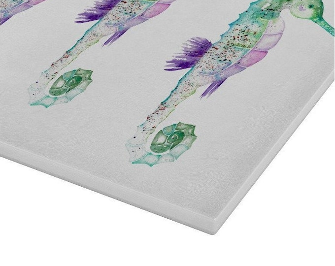 Seahorses Glass Chopping Board | Worktop Saver