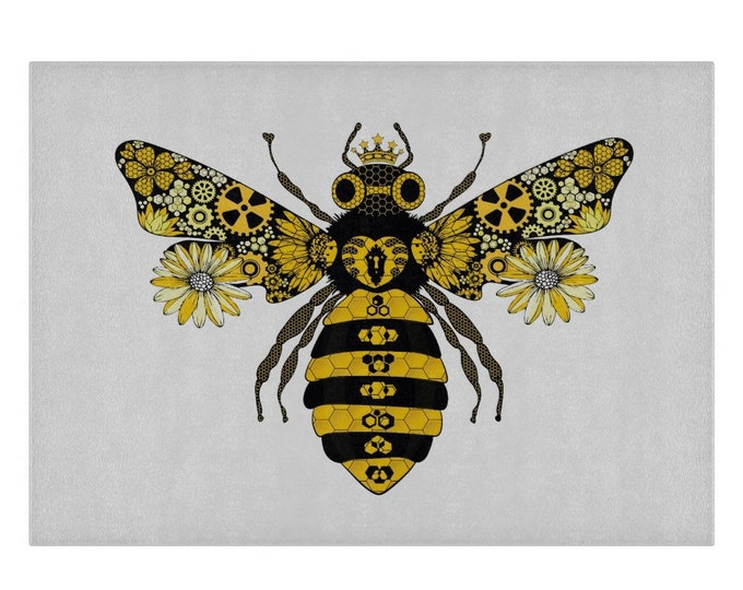 Steampunk Queen Bee Glass Chopping Board | Worktop Saver