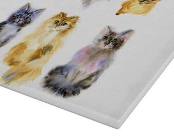 Cats & Kittens Glass Chopping Board   Worktop Saver