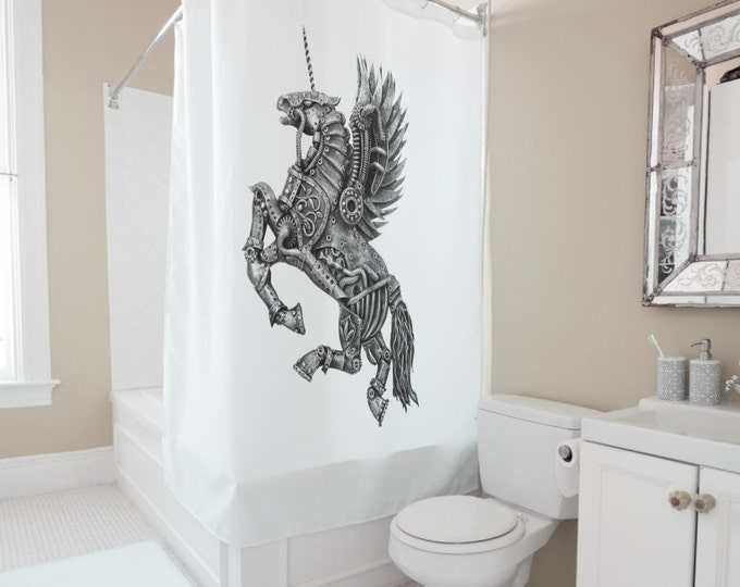 Steampunk Winged Unicorn Shower Curtain