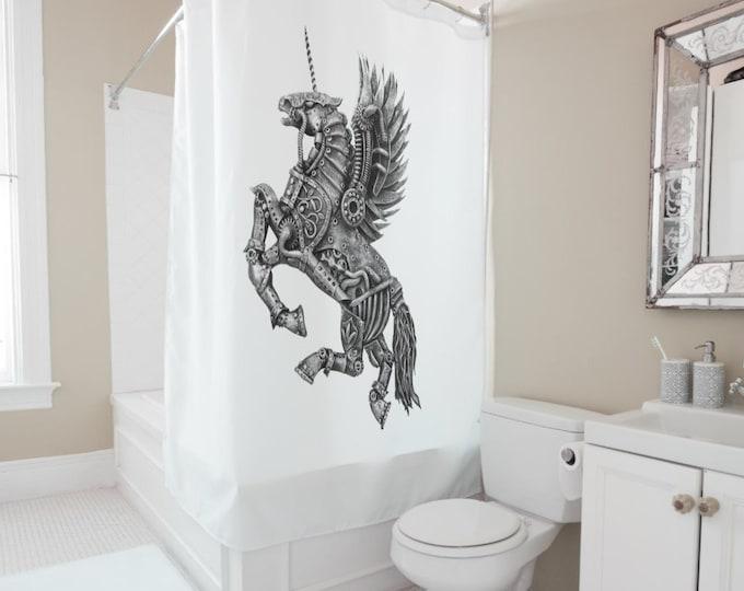 Steampunk Winged Unicorn Shower Curtain