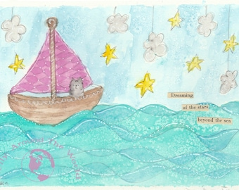 PRINT Hand Painted Whimsical Watercolor Cat On A Sailboat Dream