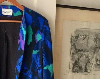 midnight fields - womens lined vintage blazer L/XL