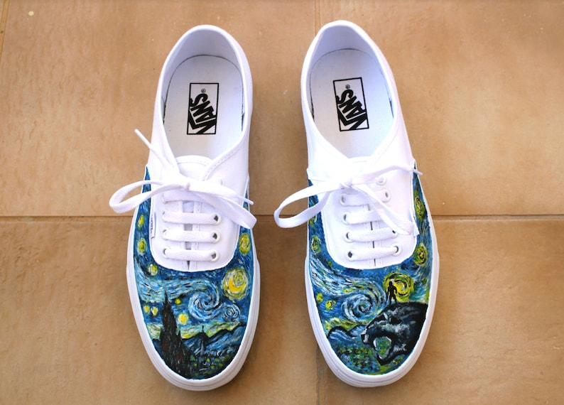 efc126b7a95 Custom Vans Vincent Van Gogh Starry Night Black Panther