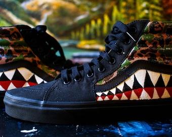Custom Vans, Bape Shark Teeth, Camouflage  Shoes