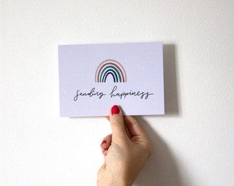 Sending Happiness, Positivity Motivational Postcard, Happy Lockdown Mail, Rainbow Postcard