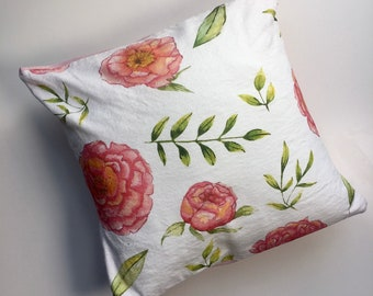 Pink Peony Cushion / Hand Illustrated watercolour peony pattern / Small peony cushion / handmade cushion