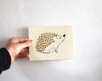 Metallic Gold Hand Illustrated Hedgehog Card
