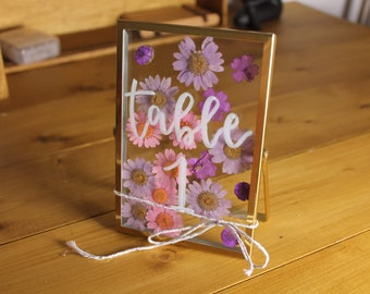 Hand Lettered Floral Table Name Signs