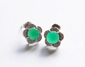 a5b9694df Green Jade Stud Earrings in Sterling Silver 925