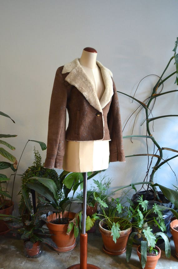 Brown & Beige Cropped Shearling Coat, size Small