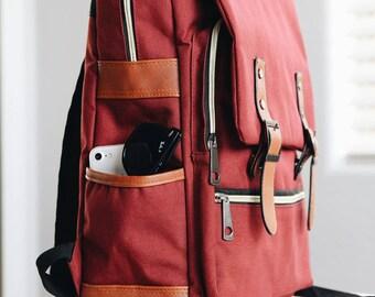 64feae8046eb Canvas Leather Travel Backpack Vintage Laptop Rucksack Waterproof Unisex Bag  Mens Women s Minimalist Style Work School Tote Camping Backpack
