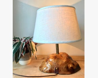 Vintage Burl Wood Accent Lamp with Shade