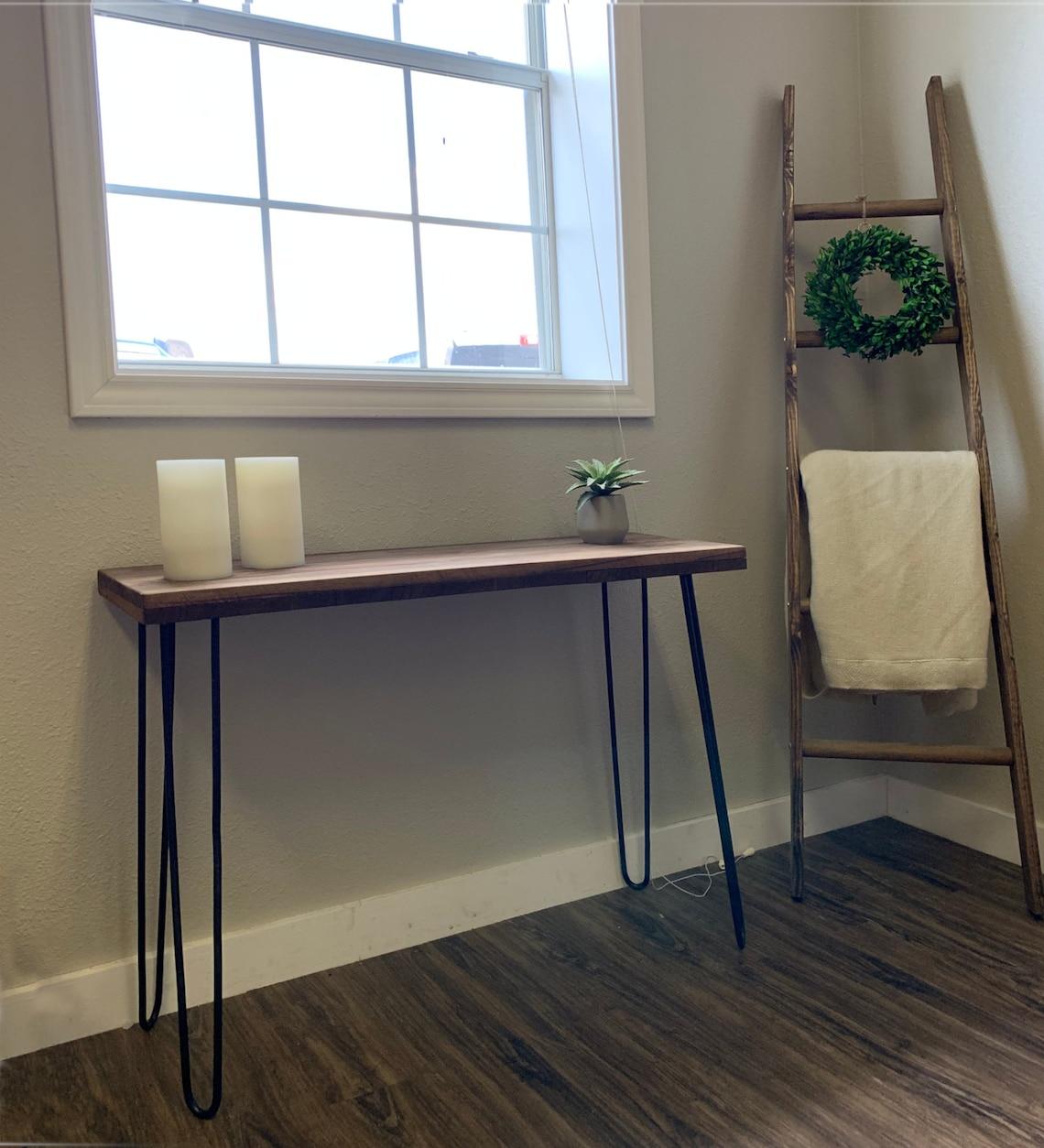 "Wood Bench, Farmhouse Decor, Entryway Bench with 34"" Hairpin Legs, Rustic Bench, Narrow Console, Custom Bench Modern Home BenchDecor Wood"