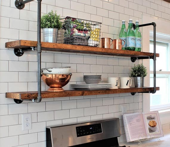 Rustic Farmhouse Pipe Wall Unit, Floating Open Kitchen Shelves, Industrial  Floating Long Wood Shelves, Farmhouse Pipe Shelves, Bookcase