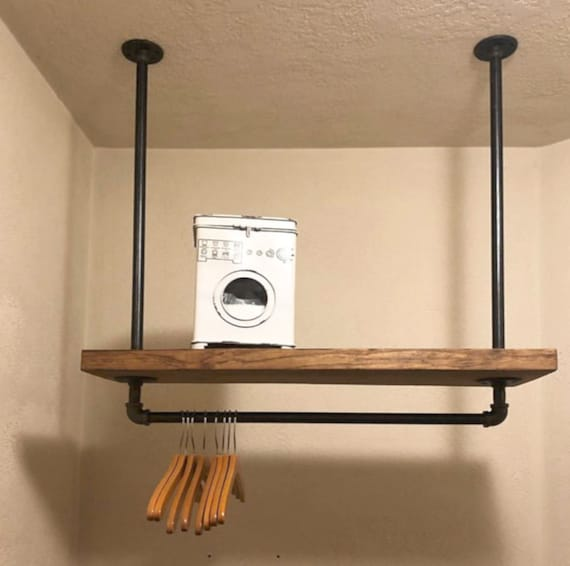 Laundry Room Storage Rack 9 25 Deep Industrial Pipe Clothes Rack Overhead Towel And Clothes Storage Rustic Organizer Iron Pipe Rack