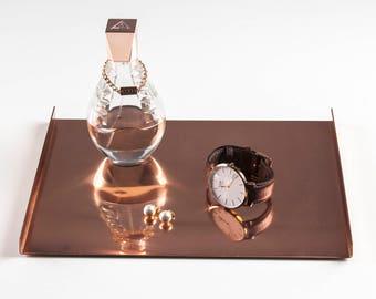 Copper Tray Small, Decorative Copper Tray, Rectangular Tray, Copper Home Decor, Rose Gold Decor