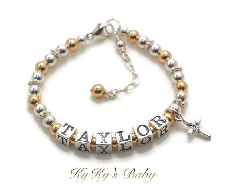 Baptism Gifts Customized Gold Baby Bracelet Baby Name Bracelets Christening Gifts Baby Cross Bracelet Baby Bracelets