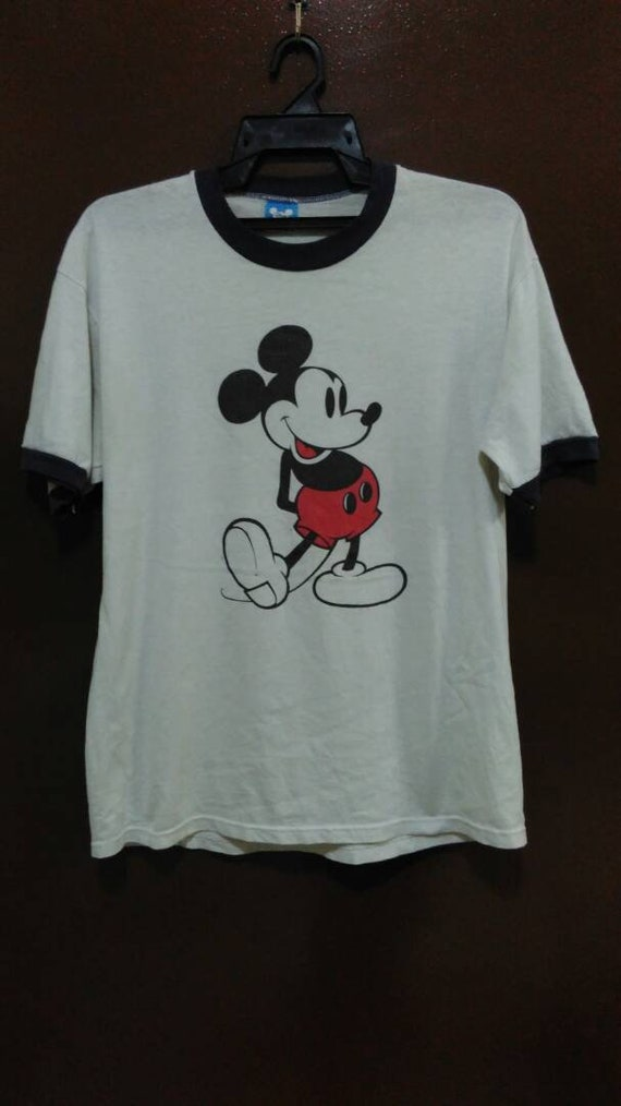 Vintage!!! MICKEY MOUSE Ringer T Shirt Disney Worl