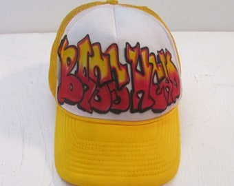 Vintage 1990s Basshead Graffiti Airbrush Trucker Hat Mesh Foam Snapback  Adjustable Baseball Cap Daystone Bass Player Musician Bass Guitar 64eccff1f0d8