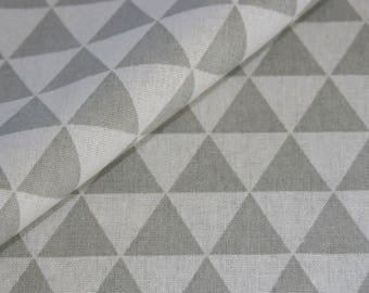 Canvas geometric cotton patterned fabric fabric fabric fabric fabric triangle pattern grey light beige price per meter