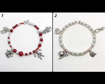 """Bracelet """"charms / beads"""" memory of shaped glass beads"""