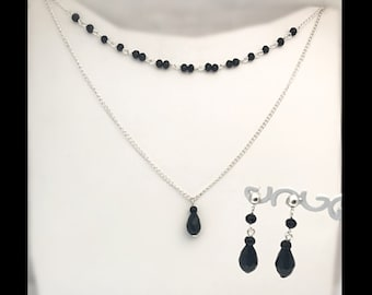 Finery 'glass drops' necklace and matching earrings.