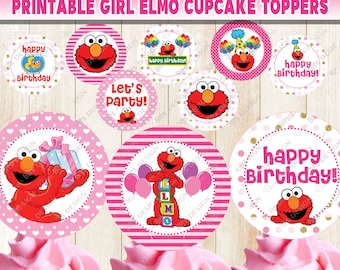 Elmo Cupcake Toppers Sesame Street Printable Girl Pink Cake Topper 1st Birthday Party Decorations Supplies