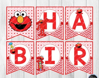 Elmo Birthday Banner Printable, Red Elmo Party Printable, Sesame Street Birthday, 1st Birthday, Elmo Alphabet Banner, Name Banner Printable
