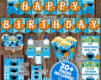 Cookie Monster Party Cookie Monster Birthday Decorations Cookie Monster 1st Birthday Printable Sesame Street Party Kit Charm Bits Design & Cookie monster party | Etsy
