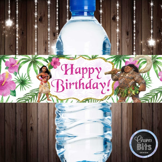 PRINTABLE PERSONALIZED Birthday Party Decor Baby Moana Birthday Party Moana Birthday Water Bottle Labels