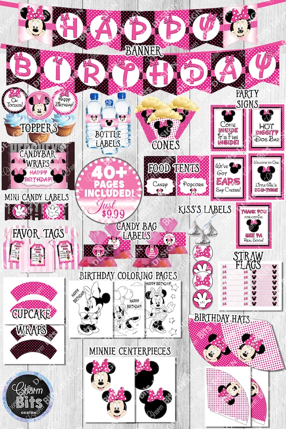 Minnie Mouse Party Kit INSTANT Download Hot Pink 1st Birthday