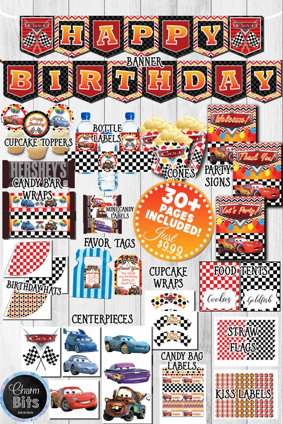 Cars Printable Party Kit Birthday Decorations Car PackPrintable BirthdayPrintable Disney Movie