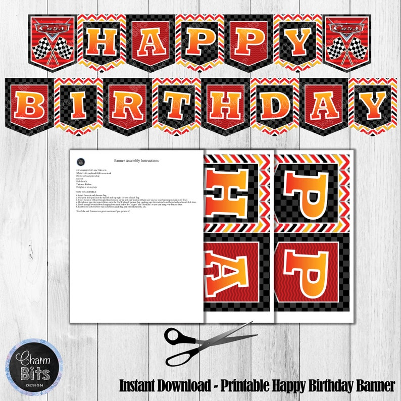 Cars Printable Party Kit Cars Birthday Decorations Printable Etsy