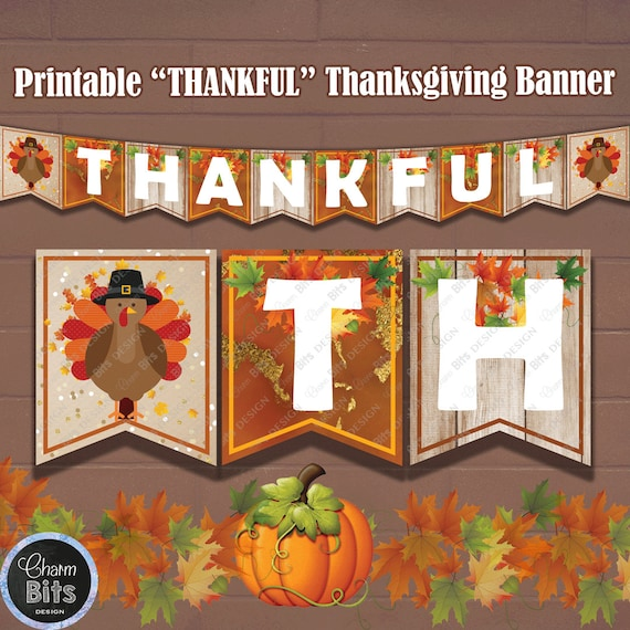 image relating to Printable Thanksgiving Banner called Grateful Thanksgiving Fireside Mantle Banner, Printable