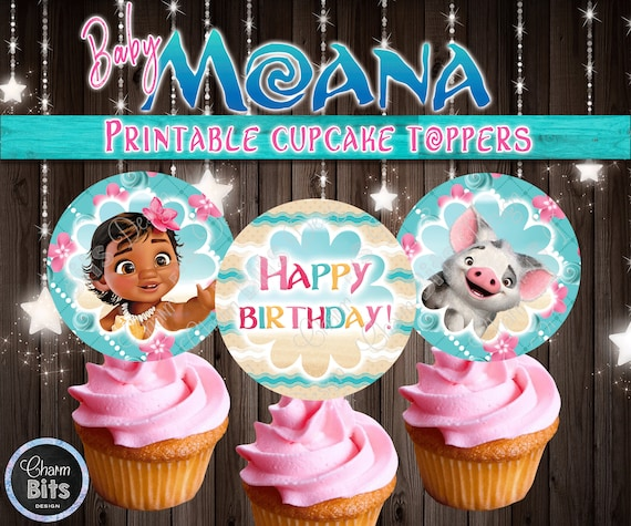 Baby Moana Cupcake Toppers 1st Birthday Printable Cake Topper Party Instant Download