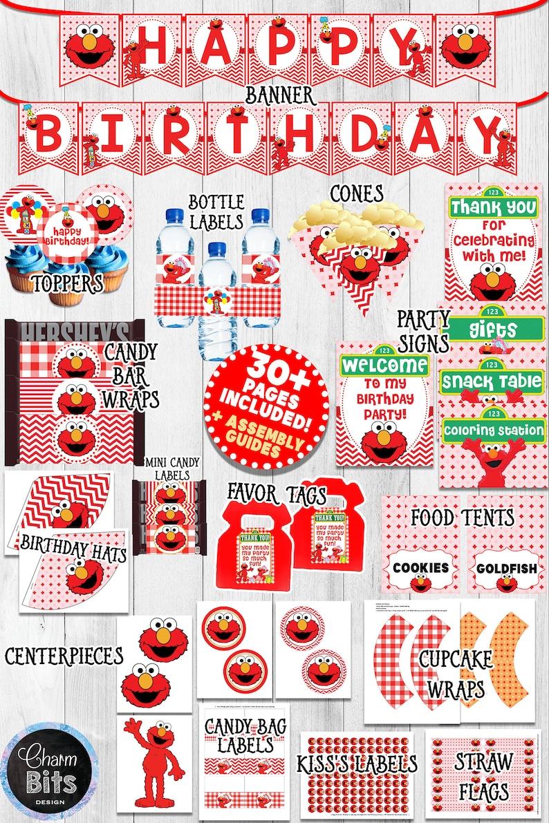 Elmo Birthday Decorations Red Elmo Party Printable Elmo 1st Etsy