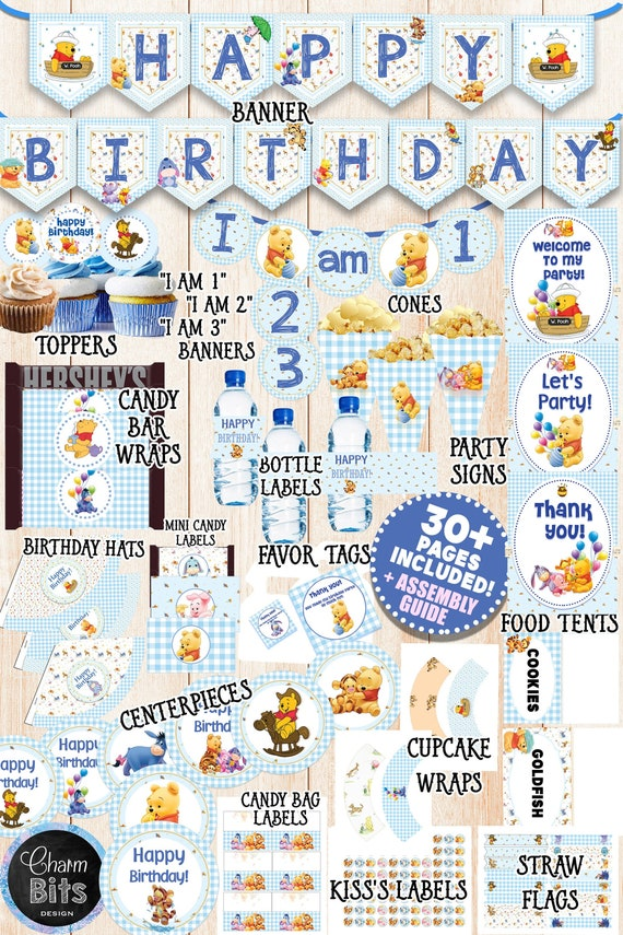 Winnie the Pooh Birthday Decorations Winnie the Pooh Party Decorations 1st Birthday Decorations Winnie the Pooh Banner