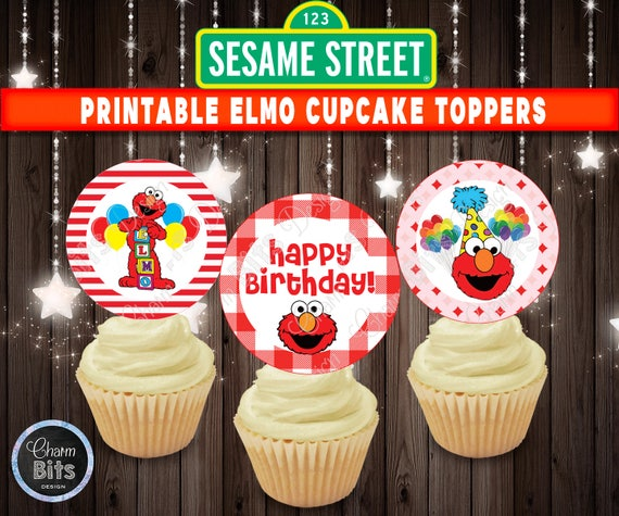 Printable Elmo Cupcake Toppers 1st Birthday Sesame Street First Party Decorations Supplies