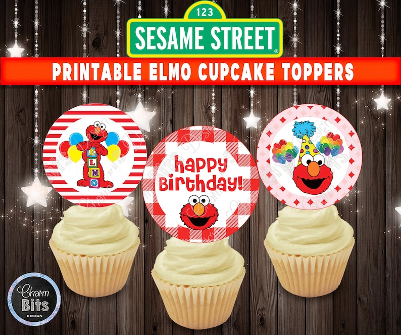 Elmo Cupcake Toppers Sesame Street Printable 1st Birthday Topper First Party Decorations Supplies