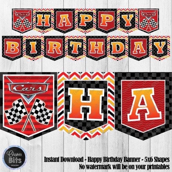 photo regarding Printable Birthday Banners called Vehicles Printable Banner, Disney Autos Occasion, Printable Birthday