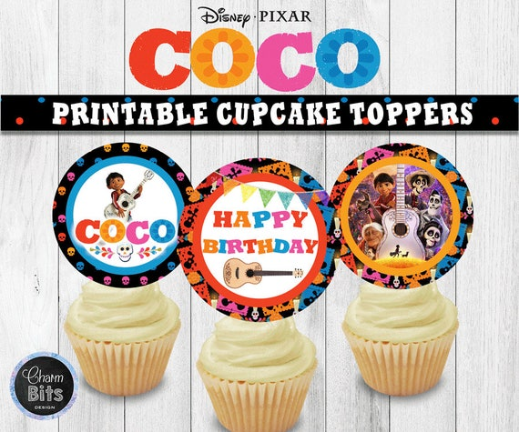 Coco Cupcake Toppers Birthday Printable Disney Party Decorations 1st