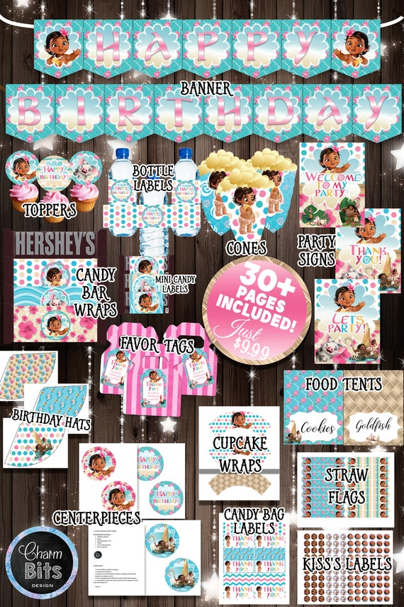 Baby Moana Party Supplies Kit Printable 1st Birthday Decorations Pack Banner Printables