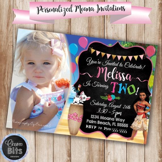 Moana Birthday Invitation Picture Party Digital Baby