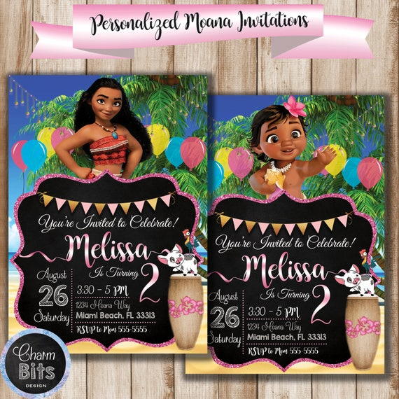 Moana Birthday Invitation Twins