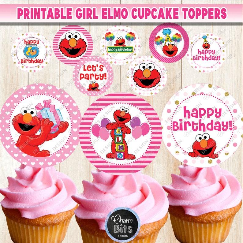 Elmo Cupcake Toppers Sesame Street Printable Girl Pink