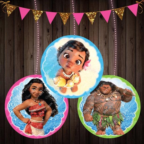 Printable Moana Centerpiece Circles, Summer Moana Party
