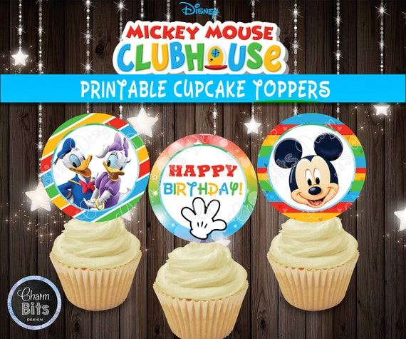 Awe Inspiring Mickey Mouse Clubhouse Cupcake Toppers Printable Cupcake Toppers Birthday Cards Printable Trancafe Filternl