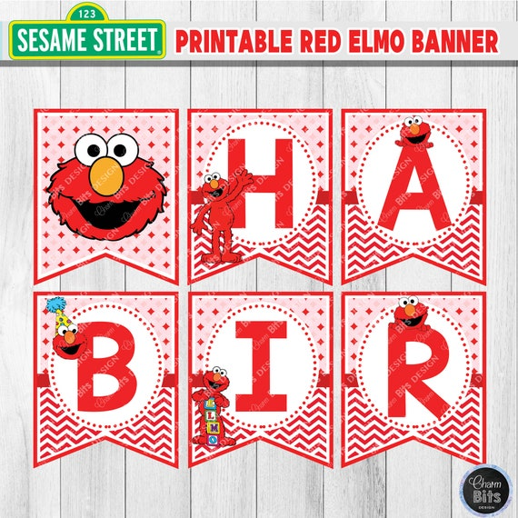 elmo birthday banner printable red elmo party printable sesame street birthday 1st birthday. Black Bedroom Furniture Sets. Home Design Ideas