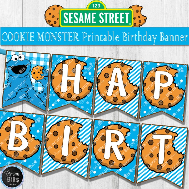 photo regarding Cookie Monster Printable identify COOKIE MONSTER Birthday Banner, Cookie Monster 1st Birthday, Printable Cookie Monster Decor, Sesame Road Birthday, Fast Obtain